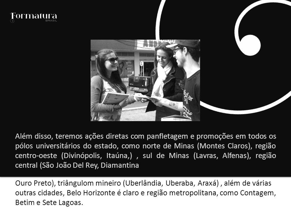 Ouro Preto), triângulom mineiro (Uberlândia, Uberaba, Araxá), além de várias outras cidades, Belo Horizonte é claro e região metropolitana, como Contagem, Betim e Sete Lagoas.