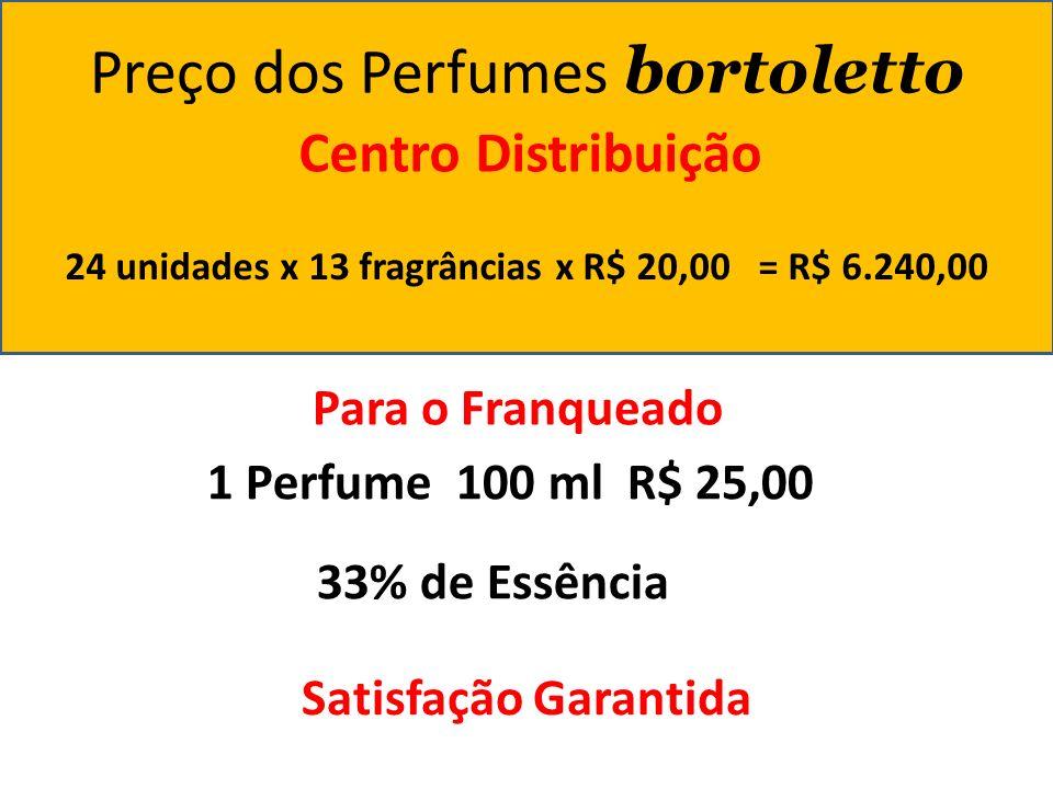 Preço dos Perfumes bortoletto Centro Distribuição 24 unidades x 13 fragrâncias x R$ 20,00 = R$ 6.240,00 Para o Franqueado 1 Perfume 100 ml R$ 25,00 33