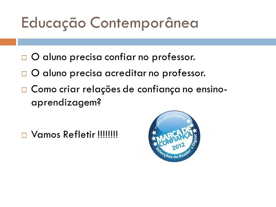 Educação Contemporânea O aluno precisa confiar no professor. O aluno precisa acreditar no professor. Como criar relações de confiança no ensino- apren