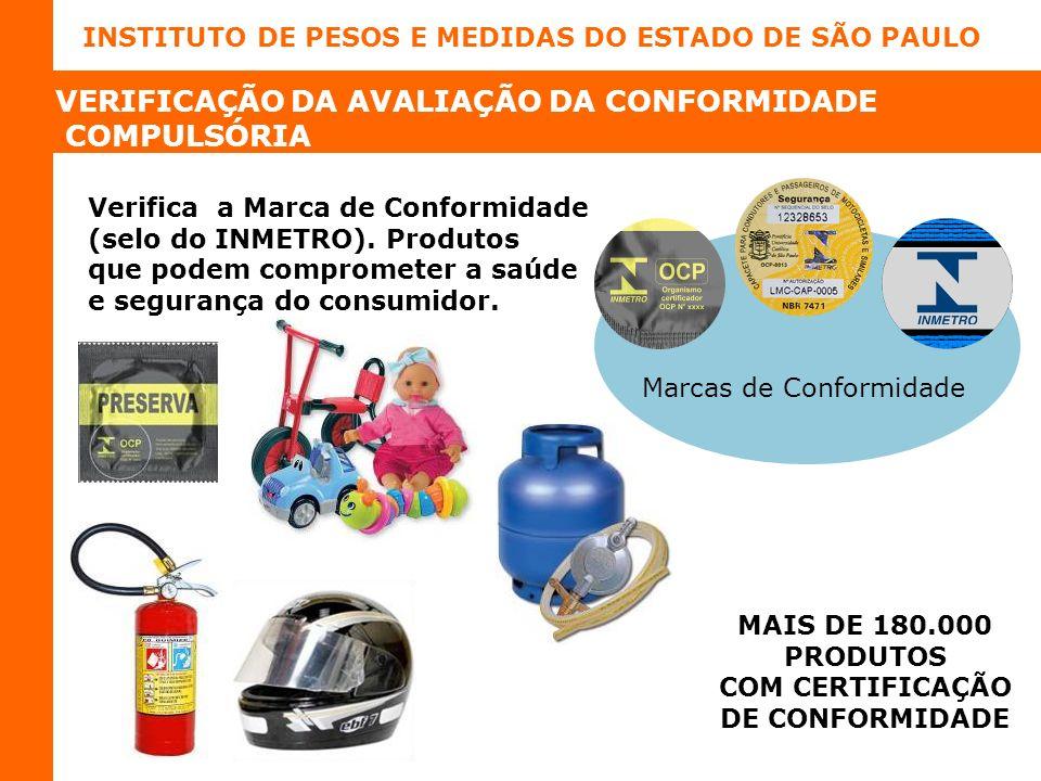 INSTITUTO DE PESOS E MEDIDAS DO ESTADO DE SÃO PAULO Verifica a Marca de Conformidade (selo do INMETRO).