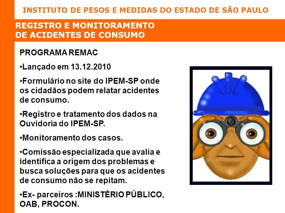 INSTITUTO DE PESOS E MEDIDAS DO ESTADO DE SÃO PAULO REGISTRO E MONITORAMENTO DE ACIDENTES DE CONSUMO PROGRAMA REMAC Lançado em 13.12.2010 Formulário no site do IPEM-SP onde os cidadãos podem relatar acidentes de consumo.