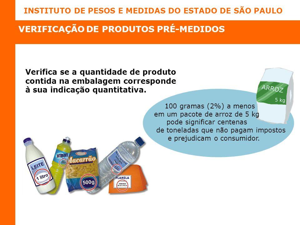 INSTITUTO DE PESOS E MEDIDAS DO ESTADO DE SÃO PAULO Verifica se a quantidade de produto contida na embalagem corresponde à sua indicação quantitativa.