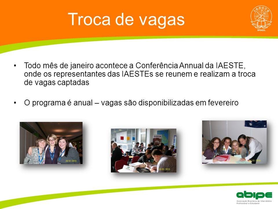 Quem é a ABIPE? Troca de vagas Todo mês de janeiro acontece a Conferência Annual da IAESTE, onde os representantes das IAESTEs se reunem e realizam a