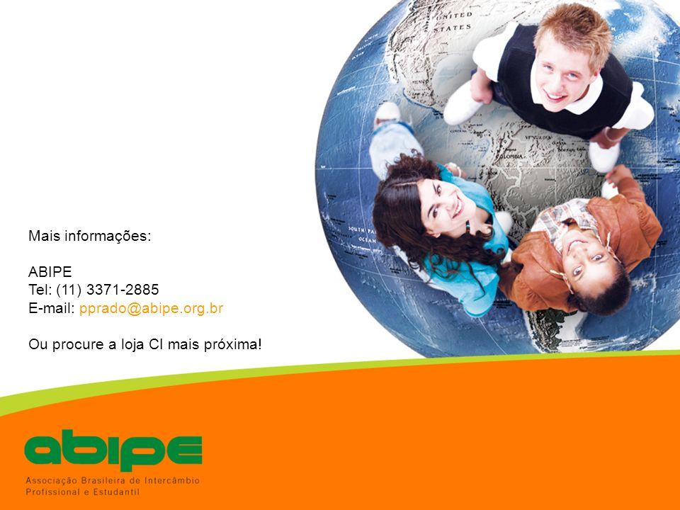 Mais informações: ABIPE Tel: (11) 3371-2885 E-mail: pprado@abipe.org.br Ou procure a loja CI mais próxima!