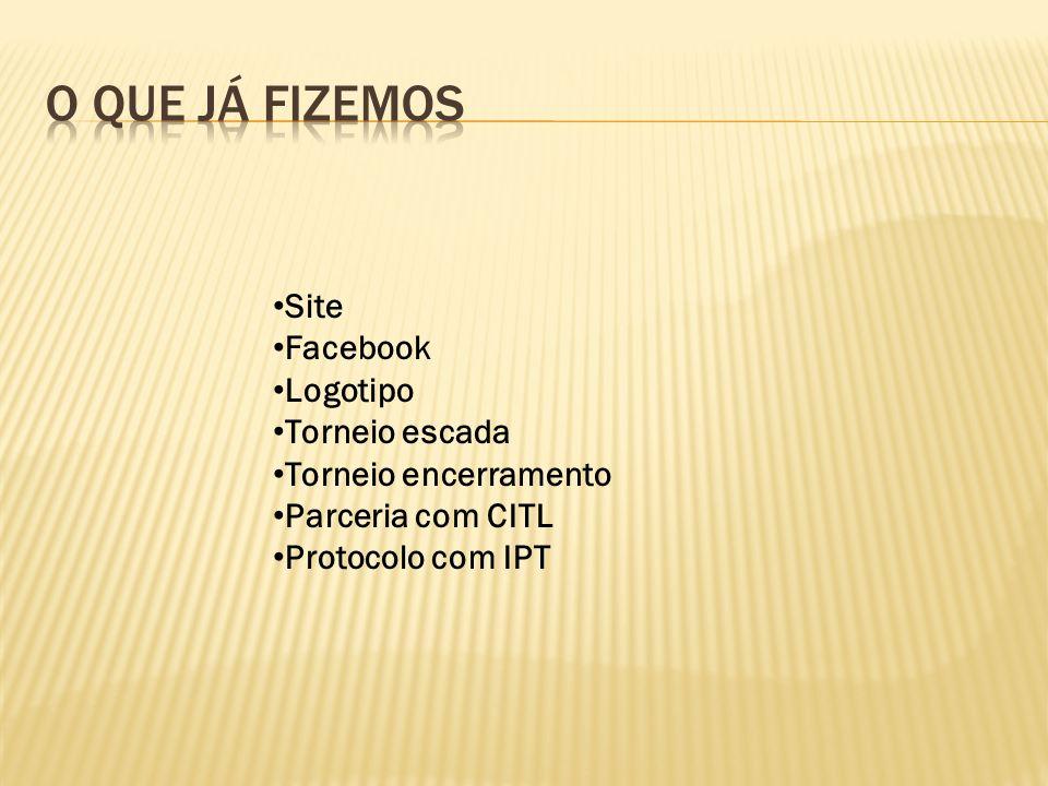 Site Facebook Logotipo Torneio escada Torneio encerramento Parceria com CITL Protocolo com IPT