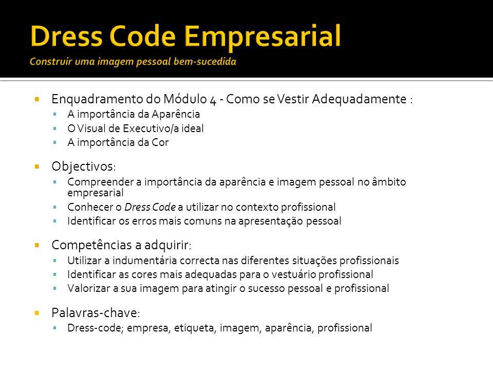 Enquadramento do Módulo 4 - Como se Vestir Adequadamente : A importância da Aparência O Visual de Executivo/a ideal A importância da Cor Objectivos: C