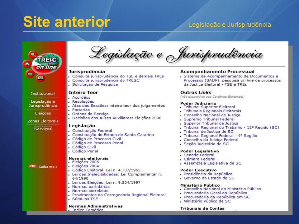 Legislação e Jurisprudência Site anterior