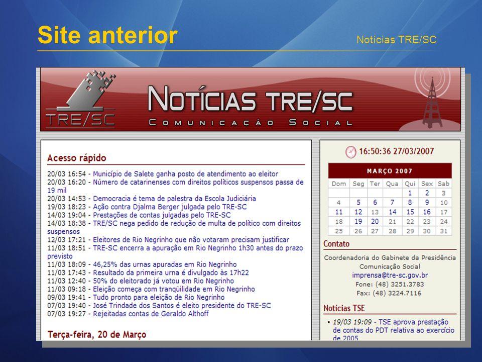 Notícias TRE/SC Site anterior
