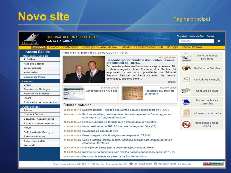 Novo site Página principal