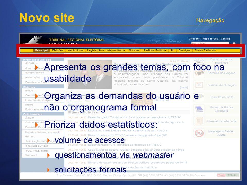 Novo site Navegação Apresenta os grandes temas, com foco na usabilidade Organiza as demandas do usuário e não o organograma formal Prioriza dados esta