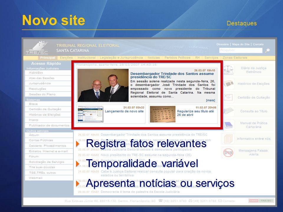 Novo site Destaques Registra fatos relevantes Temporalidade variável Apresenta notícias ou serviços Registra fatos relevantes Temporalidade variável Apresenta notícias ou serviços