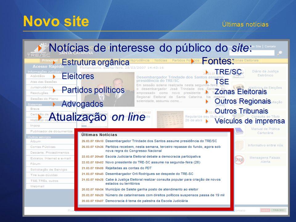 Novo site Últimas notícias Notícias de interesse do público do site: Estrutura orgânica Eleitores Partidos políticos Advogados Atualização on line Not