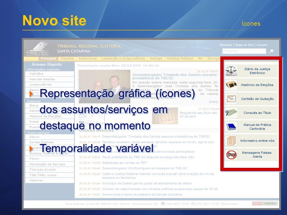 Novo site Ícones Representação gráfica (ícones) dos assuntos/serviços em destaque no momento Representação gráfica (ícones) dos assuntos/serviços em d