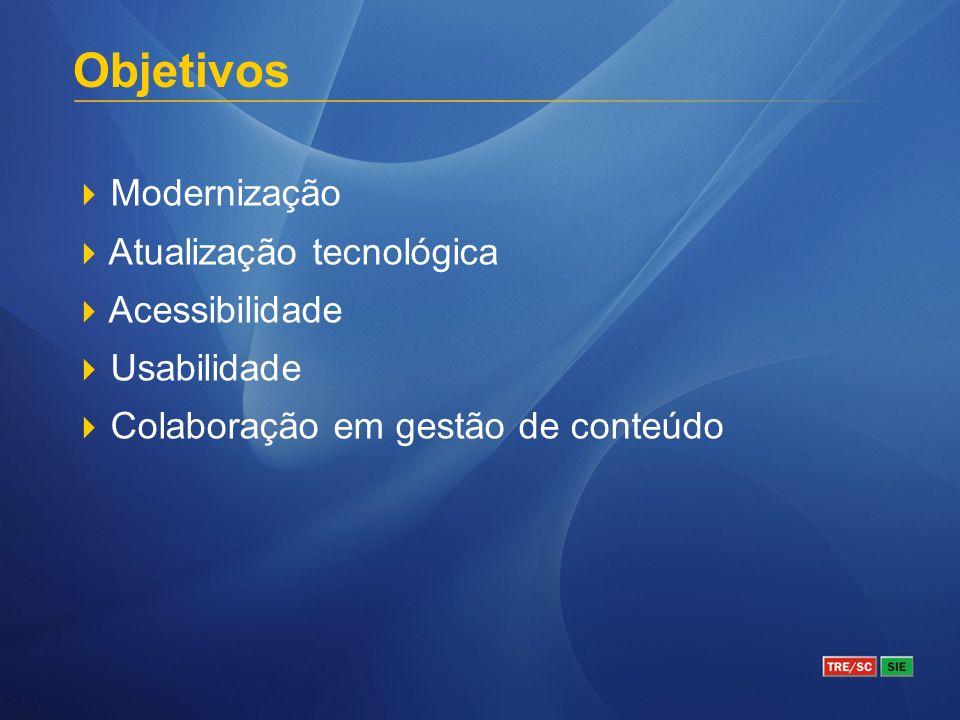 Modernização Atualização tecnológica Acessibilidade Usabilidade Colaboração em gestão de conteúdo Objetivos