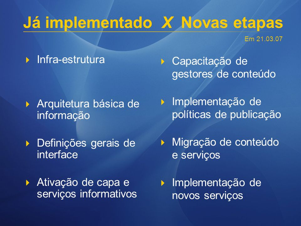 Já implementado X Novas etapas Infra-estrutura Arquitetura básica de informação Definições gerais de interface Ativação de capa e serviços informativos Capacitação de gestores de conteúdo Implementação de políticas de publicação Migração de conteúdo e serviços Implementação de novos serviços Em 21.03.07
