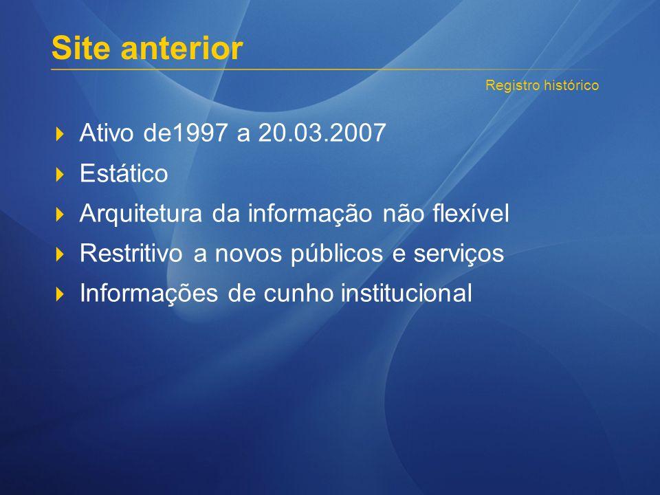 Ativo de1997 a 20.03.2007 Estático Arquitetura da informação não flexível Restritivo a novos públicos e serviços Informações de cunho institucional Re