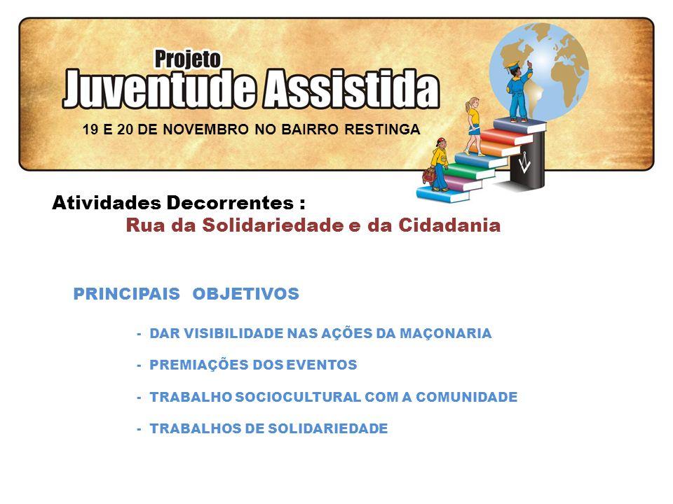 FILOSOFIA DE AÇÃO Atividades Decorrentes : Rua da Solidariedade e da Cidadania PRINCIPAIS OBJETIVOS - DAR VISIBILIDADE NAS AÇÕES DA MAÇONARIA - PREMIAÇÕES DOS EVENTOS - TRABALHO SOCIOCULTURAL COM A COMUNIDADE - TRABALHOS DE SOLIDARIEDADE 19 E 20 DE NOVEMBRO NO BAIRRO RESTINGA