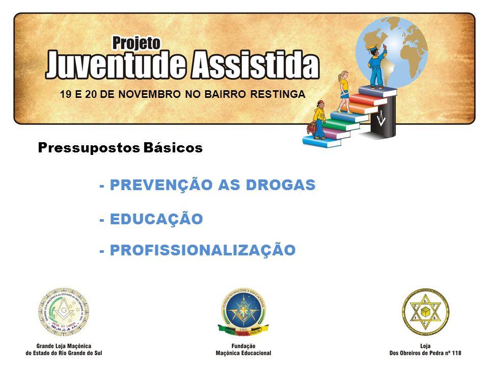 FILOSOFIA DE AÇÃO - PREVENÇÃO AS DROGAS - EDUCAÇÃO - PROFISSIONALIZAÇÃO 19 E 20 DE NOVEMBRO NO BAIRRO RESTINGA Pressupostos Básicos