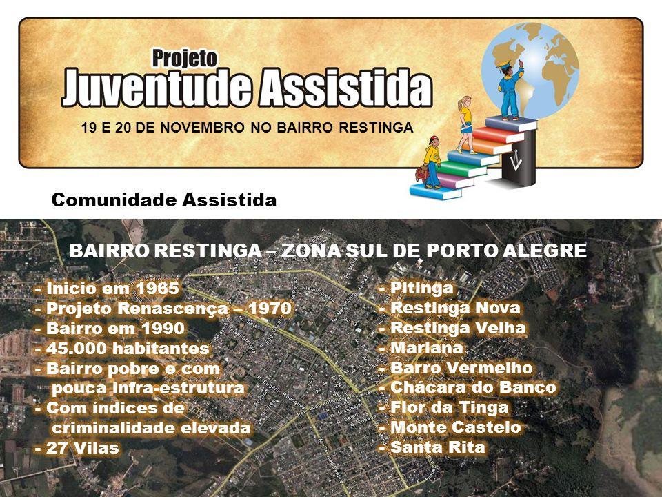 FILOSOFIA DE AÇÃO Comunidade Assistida BAIRRO RESTINGA – ZONA SUL DE PORTO ALEGRE 19 E 20 DE NOVEMBRO NO BAIRRO RESTINGA