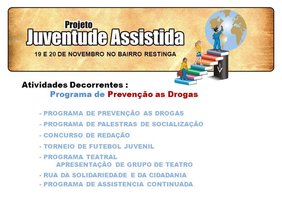 FILOSOFIA DE AÇÃO Atividades Decorrentes : Programa de Prevenção as Drogas - PROGRAMA DE PREVENÇÃO AS DROGAS - PROGRAMA DE PALESTRAS DE SOCIALIZAÇÃO - CONCURSO DE REDAÇÃO - PROGRAMA DE ASSISTENCIA CONTINUADA - RUA DA SOLIDARIEDADE E DA CIDADANIA - PROGRAMA TEATRAL APRESENTAÇÃO DE GRUPO DE TEATRO - TORNEIO DE FUTEBOL JUVENIL 19 E 20 DE NOVEMBRO NO BAIRRO RESTINGA