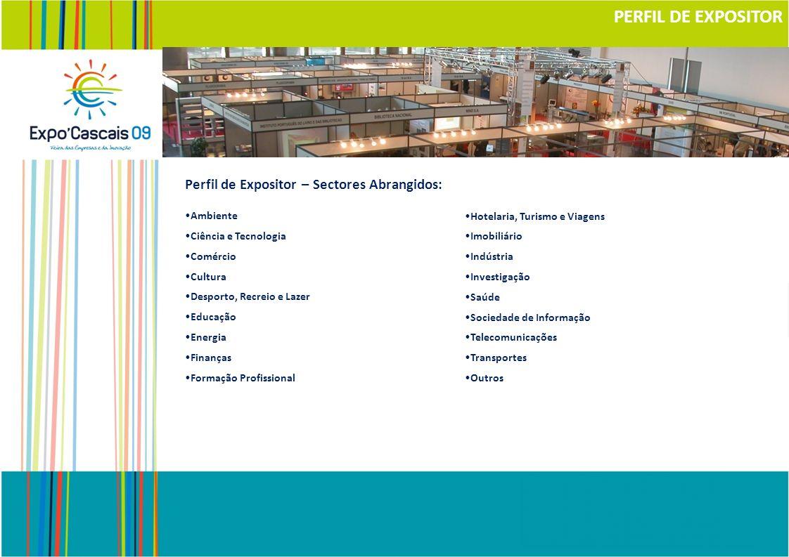 Perfil de Expositor – Sectores Abrangidos: Ambiente Ciência e Tecnologia Comércio Cultura Desporto, Recreio e Lazer Educação Energia Finanças Formação