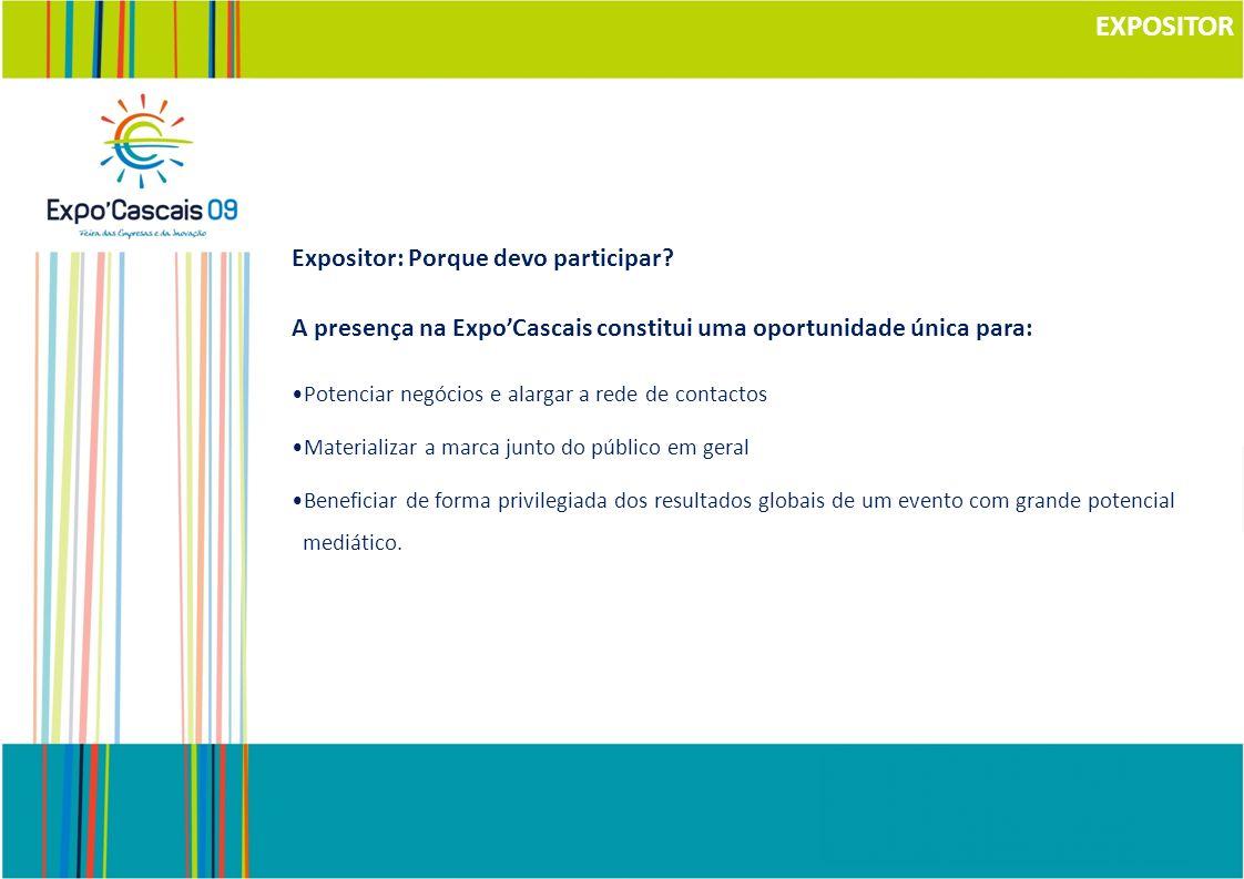 EXPOSITOR Expositor: Porque devo participar? A presença na ExpoCascais constitui uma oportunidade única para: Potenciar negócios e alargar a rede de c