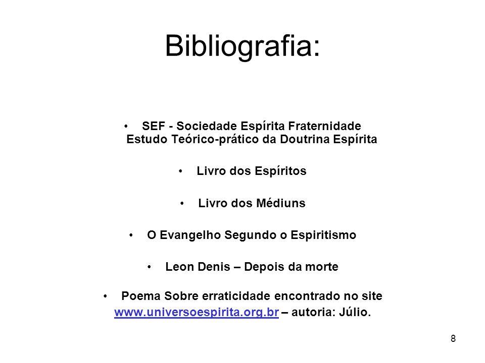 8 Bibliografia: SEF - Sociedade Espírita Fraternidade Estudo Teórico-prático da Doutrina Espírita Livro dos Espíritos Livro dos Médiuns O Evangelho Se