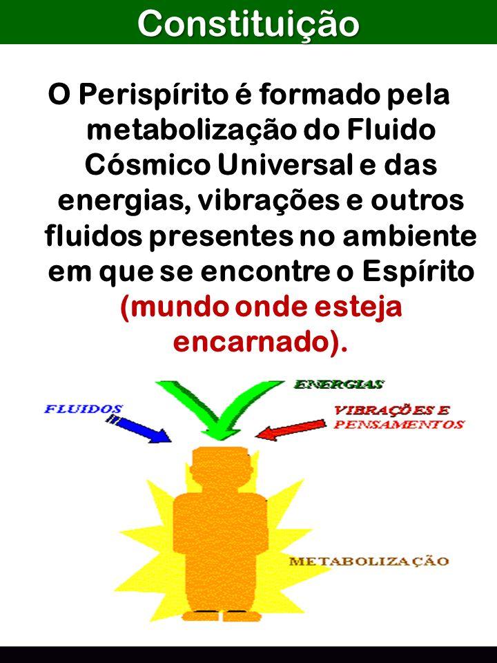 Constituição O Perispírito é formado pela metabolização do Fluido Cósmico Universal e das energias, vibrações e outros fluidos presentes no ambiente e