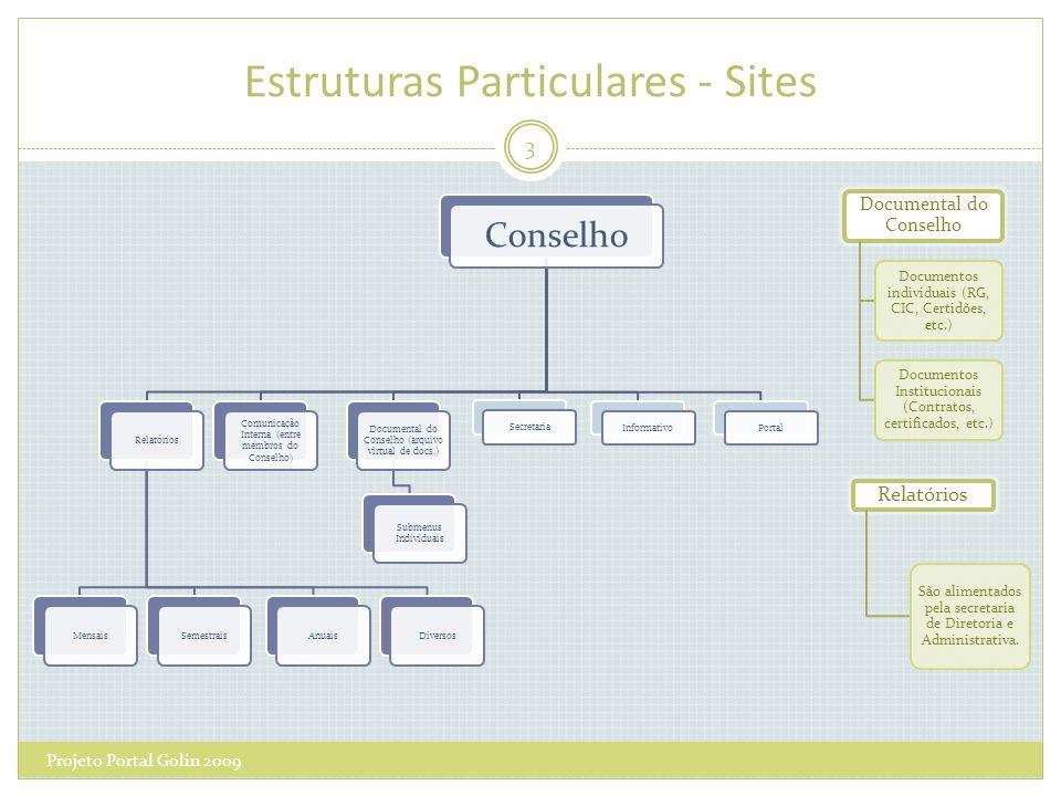 Estruturas Particulares - Sites 3 Projeto Portal Golin 2009 Conselho RelatóriosMensaisSemestraisAnuaisDiversos Comunicação Interna (entre membros do C