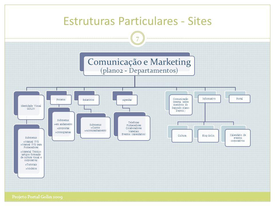 Estruturas Particulares - Sites Projeto Portal Golin 2009 7 Comunicação e Marketing (plano2 - Departamentos) Relatórios Submenus >Custos >Acompanhamen