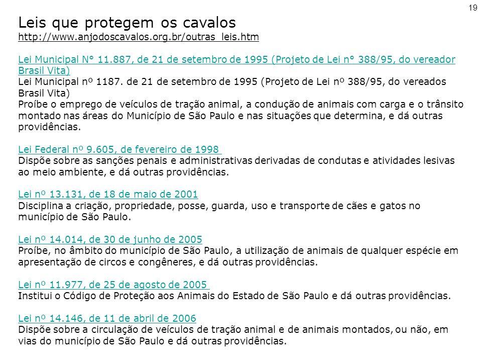 Leis que protegem os cavalos http://www.anjodoscavalos.org.br/outras_leis.htm Lei Municipal N° 11.887, de 21 de setembro de 1995 (Projeto de Lei n° 388/95, do vereador Brasil Vita) Lei Municipal N° 11.887, de 21 de setembro de 1995 (Projeto de Lei n° 388/95, do vereador Brasil Vita) Lei Municipal nº 1187.