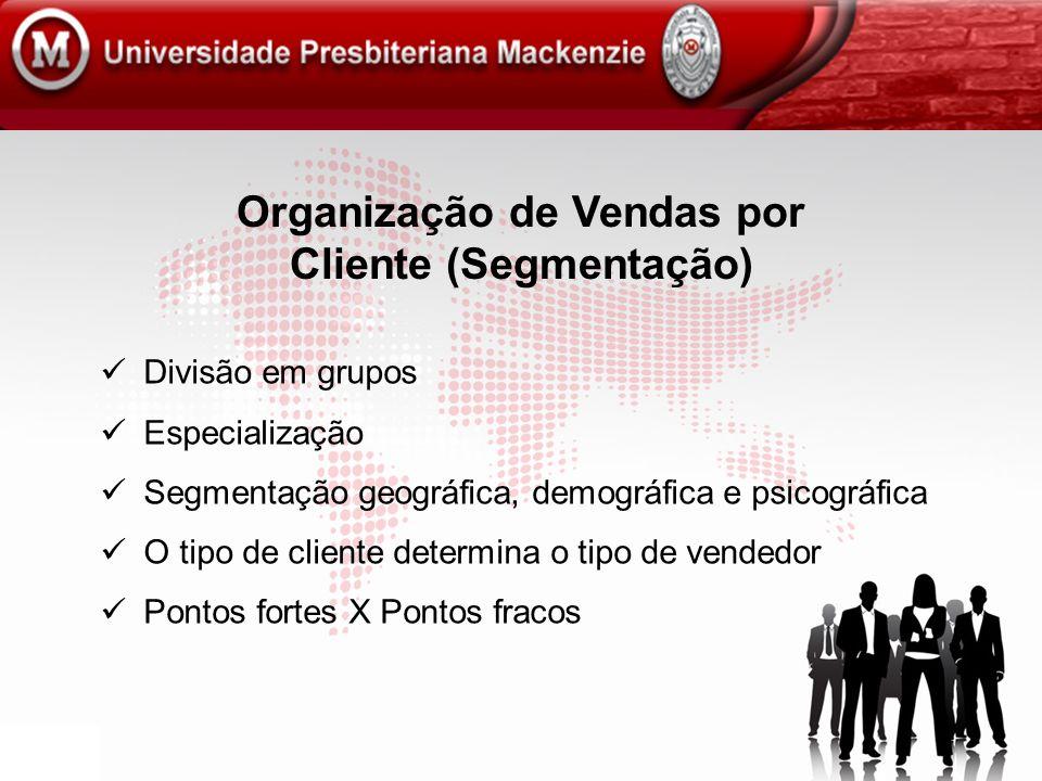 Organização de Vendas por Cliente (Segmentação) Divisão em grupos Especialização Segmentação geográfica, demográfica e psicográfica O tipo de cliente
