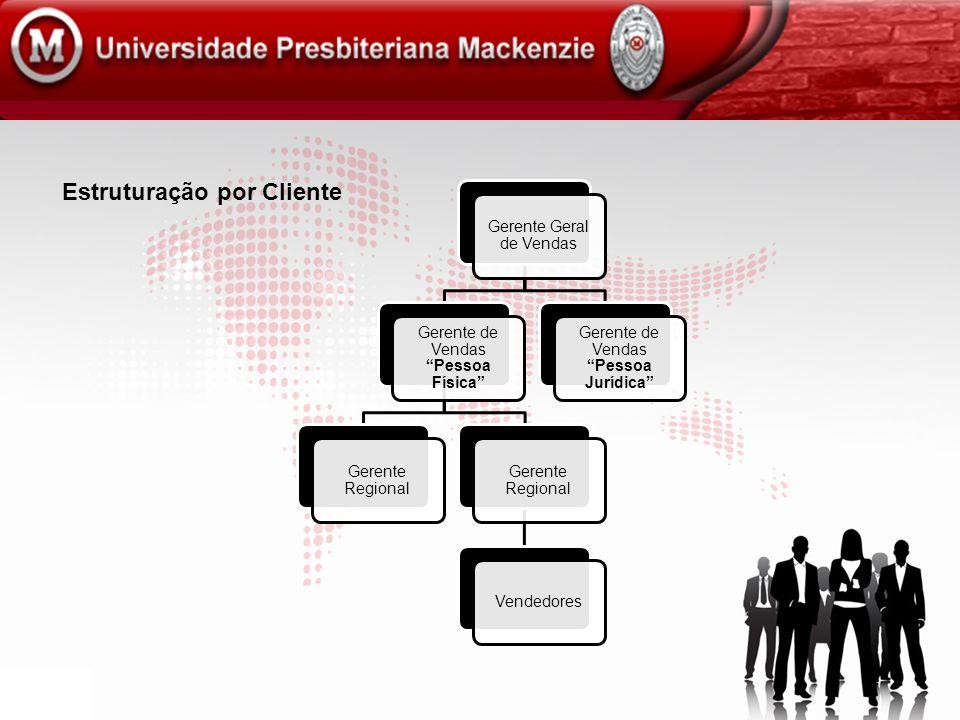 Estruturação por Cliente Gerente Geral de Vendas Gerente de Vendas Pessoa Física Gerente Regional Vendedores Gerente de Vendas Pessoa Jurídica