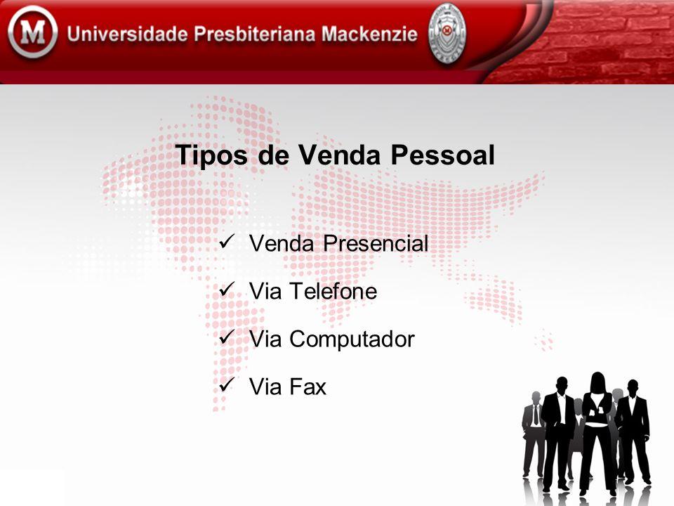 Tipos de Venda Pessoal Venda Presencial Via Telefone Via Computador Via Fax