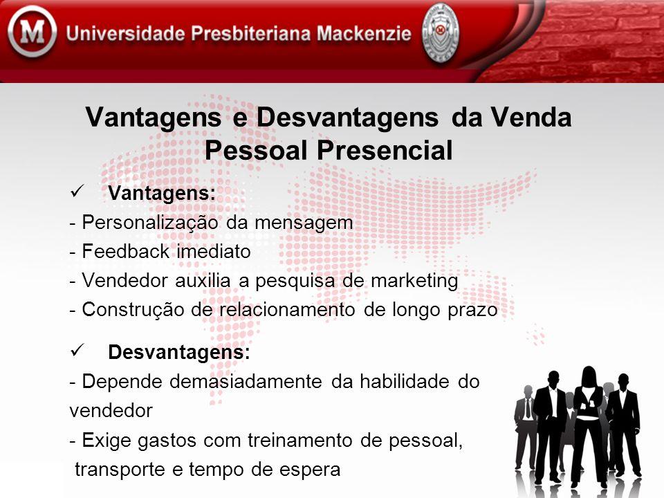 Vantagens e Desvantagens da Venda Pessoal Presencial Vantagens: - Personalização da mensagem - Feedback imediato - Vendedor auxilia a pesquisa de mark