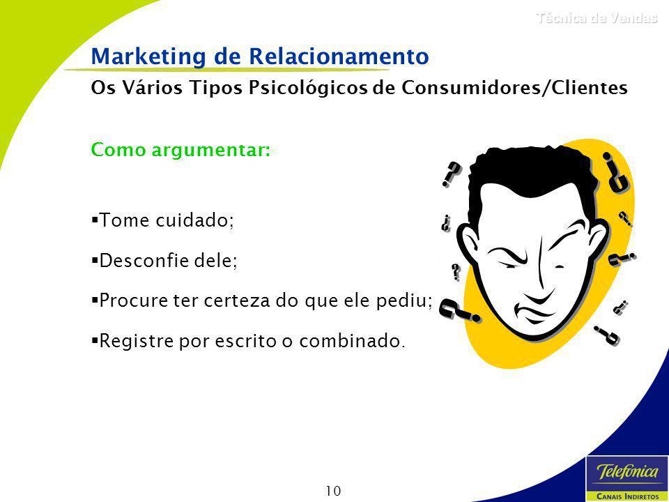 10 Técnica de Vendas Como argumentar: Tome cuidado; Desconfie dele; Procure ter certeza do que ele pediu; Registre por escrito o combinado. Marketing