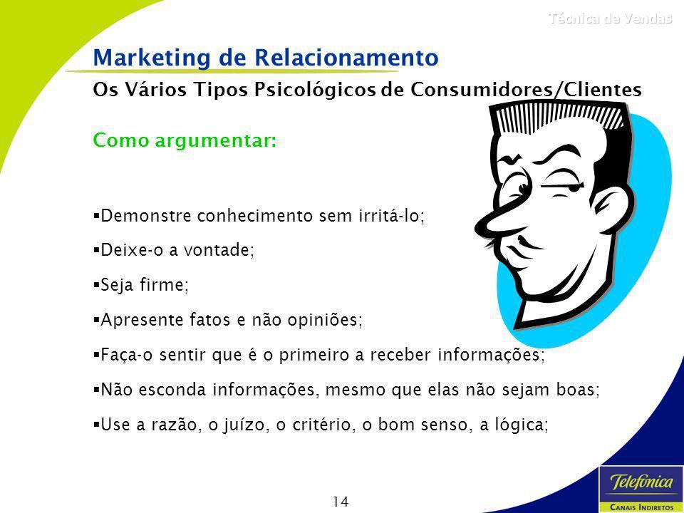 14 Técnica de Vendas Marketing de Relacionamento Os Vários Tipos Psicológicos de Consumidores/Clientes Como argumentar: Demonstre conhecimento sem irr