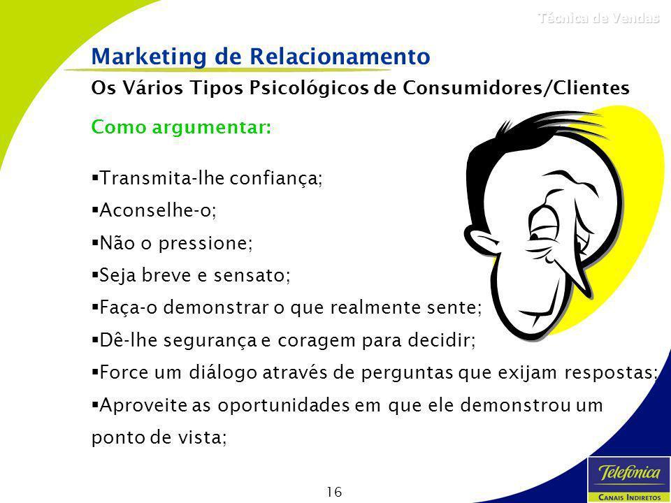 16 Técnica de Vendas Marketing de Relacionamento Os Vários Tipos Psicológicos de Consumidores/Clientes Como argumentar: Transmita-lhe confiança; Acons