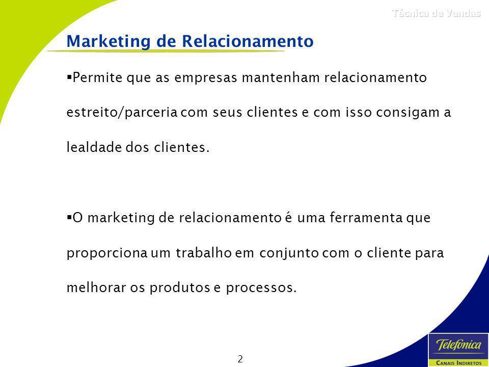 2 Técnica de Vendas Marketing de Relacionamento Permite que as empresas mantenham relacionamento estreito/parceria com seus clientes e com isso consig