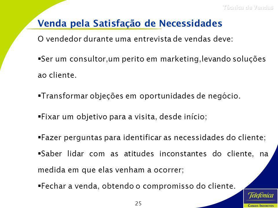 25 Técnica de Vendas O vendedor durante uma entrevista de vendas deve: Ser um consultor,um perito em marketing,levando soluções ao cliente. Transforma