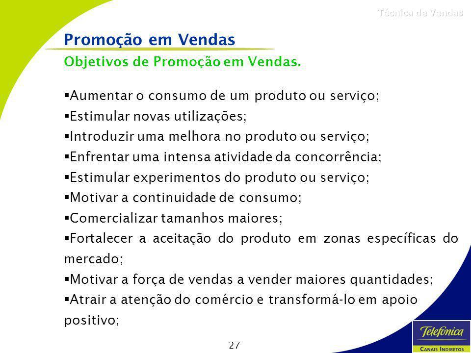 27 Técnica de Vendas Objetivos de Promoção em Vendas. Aumentar o consumo de um produto ou serviço; Estimular novas utilizações; Introduzir uma melhora