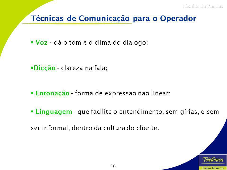 36 Técnica de Vendas Técnicas de Comunicação para o Operador Voz - dá o tom e o clima do diálogo; Dicção - clareza na fala; Entonação - forma de expre