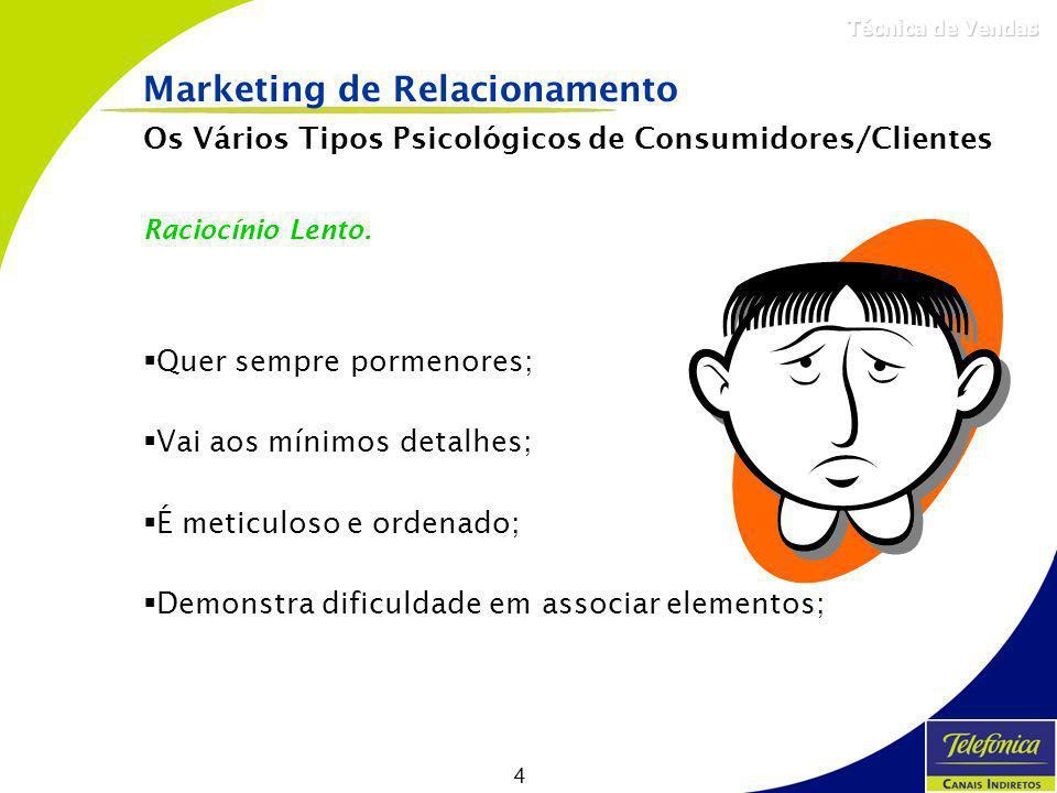 4 Técnica de Vendas Os Vários Tipos Psicológicos de Consumidores/Clientes Raciocínio Lento. Quer sempre pormenores; Vai aos mínimos detalhes; É meticu