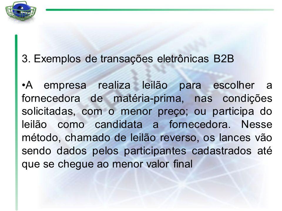 3. Exemplos de transações eletrônicas B2B A empresa realiza leilão para escolher a fornecedora de matéria-prima, nas condições solicitadas, com o meno