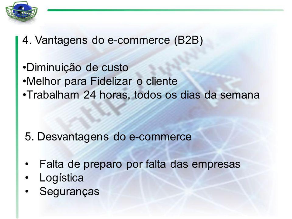 4. Vantagens do e-commerce (B2B) Diminuição de custo Melhor para Fidelizar o cliente Trabalham 24 horas, todos os dias da semana 5. Desvantagens do e-