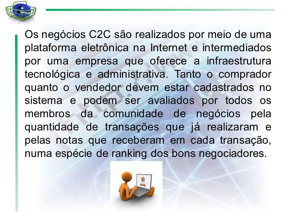 Os negócios C2C são realizados por meio de uma plataforma eletrônica na Internet e intermediados por uma empresa que oferece a infraestrutura tecnológ