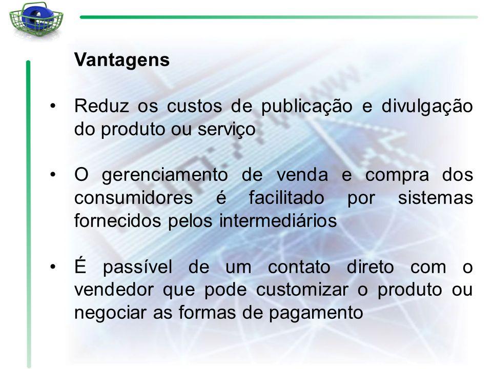 Vantagens Reduz os custos de publicação e divulgação do produto ou serviço O gerenciamento de venda e compra dos consumidores é facilitado por sistema