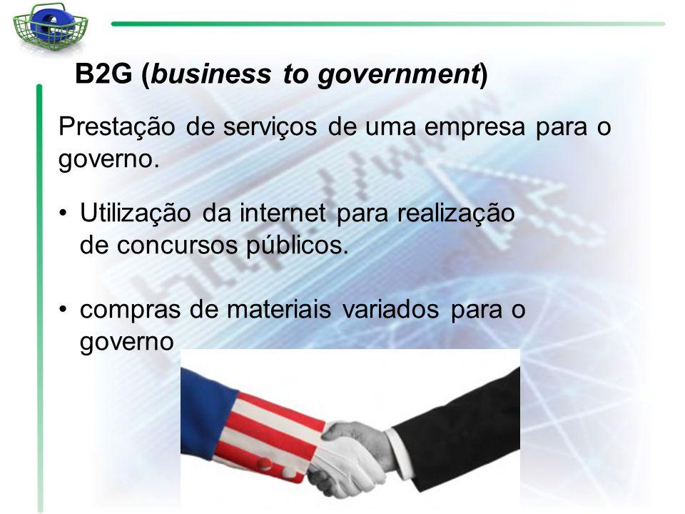 Utilização da internet para realização de concursos públicos. compras de materiais variados para o governo Prestação de serviços de uma empresa para o