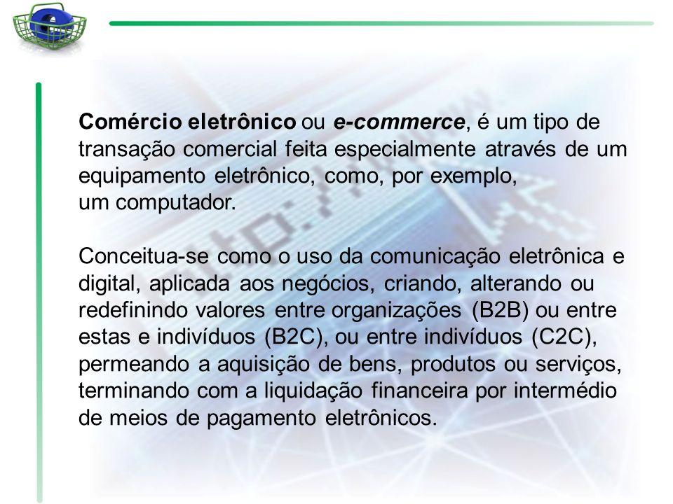 Comércio eletrônico ou e-commerce, é um tipo de transação comercial feita especialmente através de um equipamento eletrônico, como, por exemplo, um co