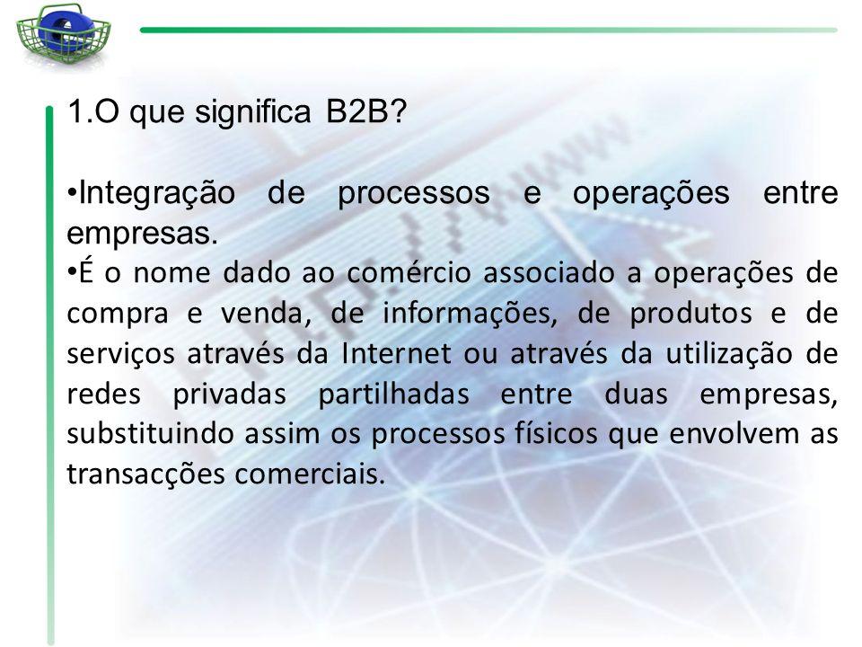 1.O que significa B2B? Integração de processos e operações entre empresas. É o nome dado ao comércio associado a operações de compra e venda, de infor